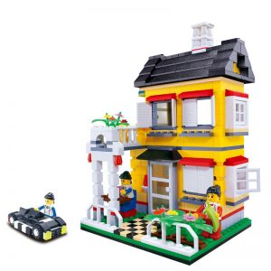 WANGE 31052 Small Villa Series: Model B Yellow Garden Villa 0