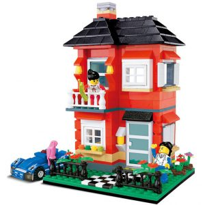 WANGE 31054 Small Villa Series: Model D Red Garden Villa 0