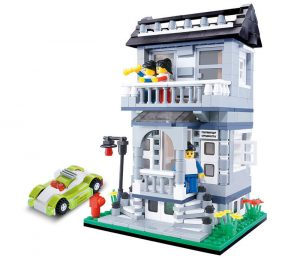 WANGE 31053 Small Villa Series: Model C Grey 2nd Floor Villa 0